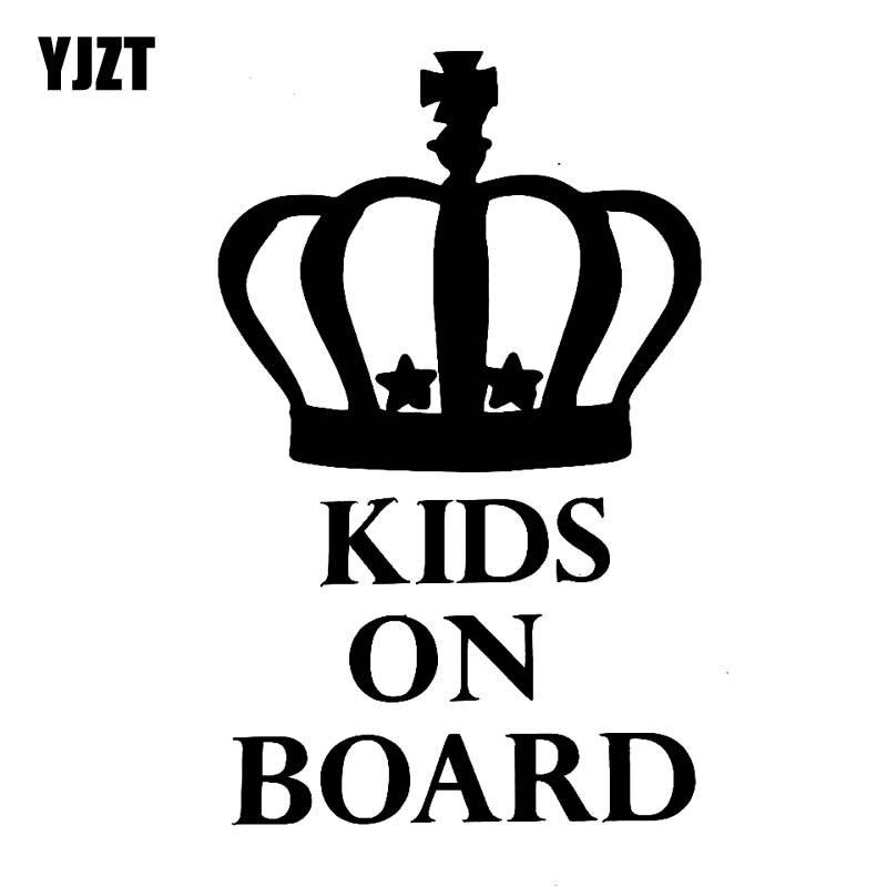 YJZT 9.1CM*14.5CM KIDS ON BOARD Vinyl Car Motorcycle Stickers  Funny Decal Black/Silver C10-00789