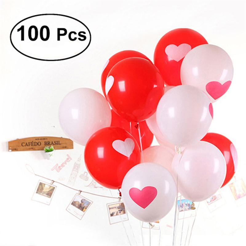 "12/"" Wedding Red /& White Latex Balloons pack of 8 Heart Engagement"