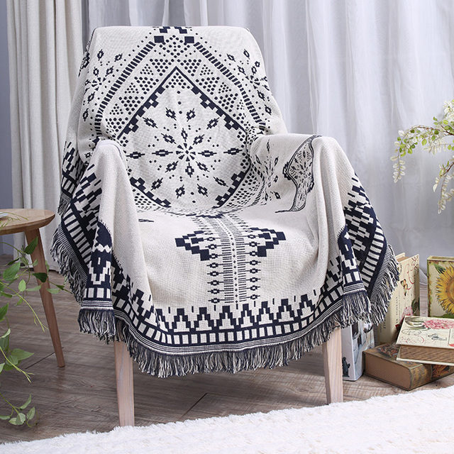 Practical Cotton Geometric Blanket Super Soft Sofa Decorative Custom Decorative Blankets And Throws