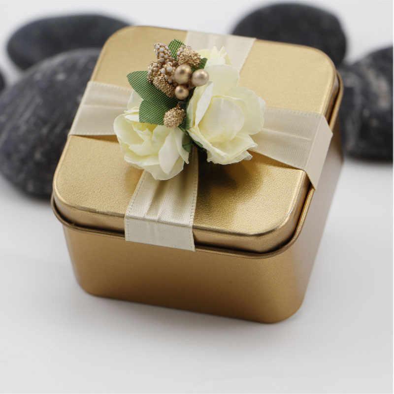 Warna-warni Kraft Kertas Kaleng Permen Kotak Hadiah Tas Pernikahan Hadiah Baby Shower Nikmat Perlengkapan Pesta Ulang Tahun Valentine 'S Hari Hadiah