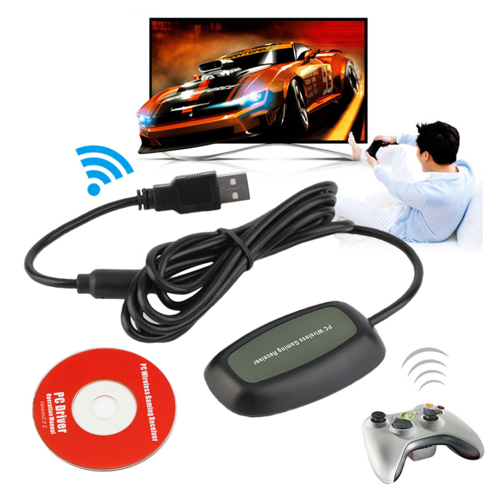 Wireless PC USB 2.0 Receiver for Xbox 360 Controller Gaming USB Receiver Adapter PC Receiver For Microsoft for XBOX 360 with CD