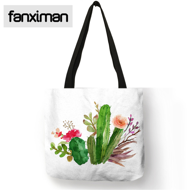 custom watercolor tropical plant pineapple cactus print tote bag
