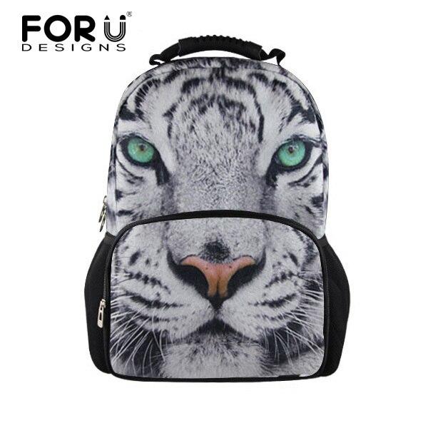 b9160926a7f FORUDESIGNS 3D Animal White Tiger Head Backpack for Men Unique Backbag  Children Teenager Boys Tourism Backpack Cool Tiger Face
