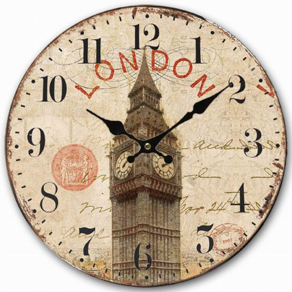 Retro Vintage Style Large Clock Uk London Ben Home Decorative Wall Wood 34cm