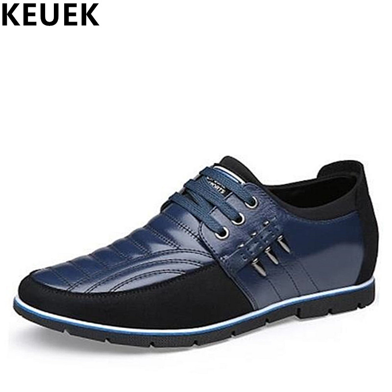 Men s business casual leather shoes Height Increasing Men s shoes Genuine leather Loafers Male Sneakers