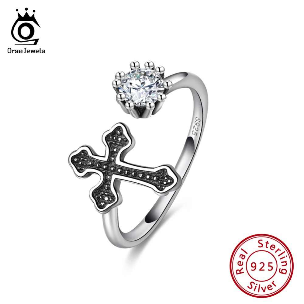 ORSA JEWELS Genuine 925 Female Ring Sterling Silver Cubic Zircon And Black Cross Adjustable Women Rings For Party Jewelry SR130