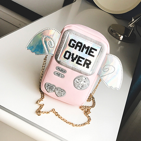 2017 New  cute fashion personality letter game shape laser wings mini clutch purse flap ladies chain shoulder bag Messenger bag2017 New  cute fashion personality letter game shape laser wings mini clutch purse flap ladies chain shoulder bag Messenger bag