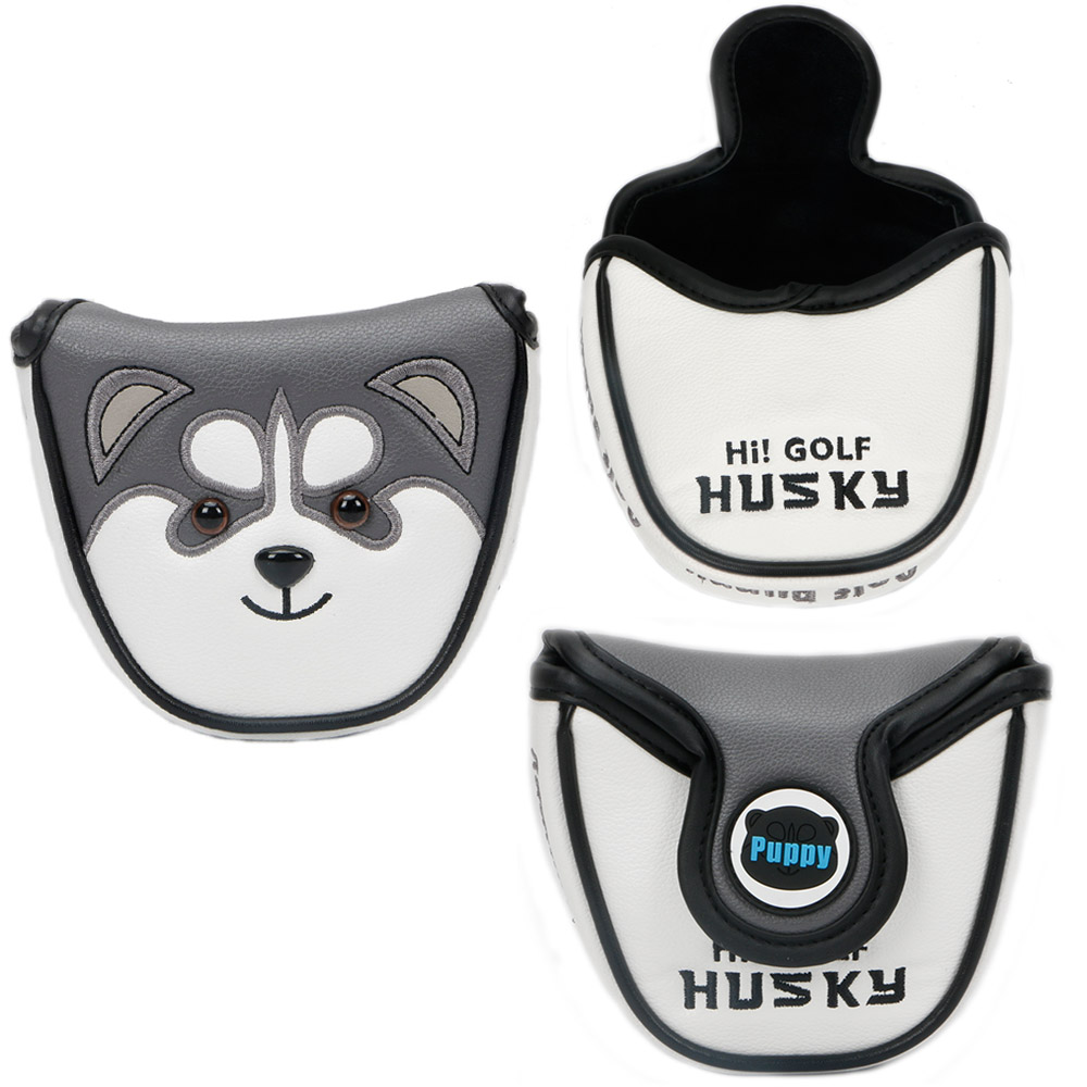 Cute animal husky half-circle golf club head cover