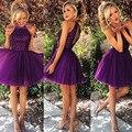 2016 Por Encargo Vestido de festa longo Top Halter del hombro Cuentas de Encaje Una Línea de Vestido Púrpura vestido de noche corto
