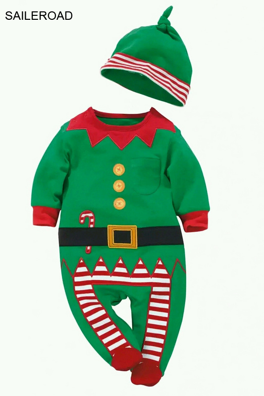 SAILEROAD Baby   Rompers   One-piece Costumes Baby Long Sleeve Spring Autumn Baby Wear Clothing Set Top+Hat For Christmas Clothes