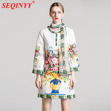 Sicily Retro Jacket Casual 2017 Autumn Winter Fashion New Arrival Flowers Print Runway Beading With Scarves Women Long Coat