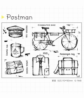 WYF927 Postman Scrapbook DIY Photo Album Cards Transparent Acrylic Silicone Rubber Clear Stamps Sheet  11x16cm wyf1017 scrapbook diy photo album cards transparent silicone rubber clear stamp 11x16cm camera