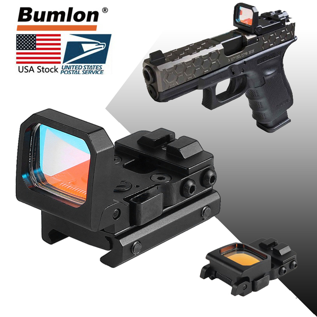 Flip Up Red Dot Sight Reflex Foldable Tactical RMR Scope with Mount 9 Levels Brightness Holographic for Airsoft Hunting HT5-0047