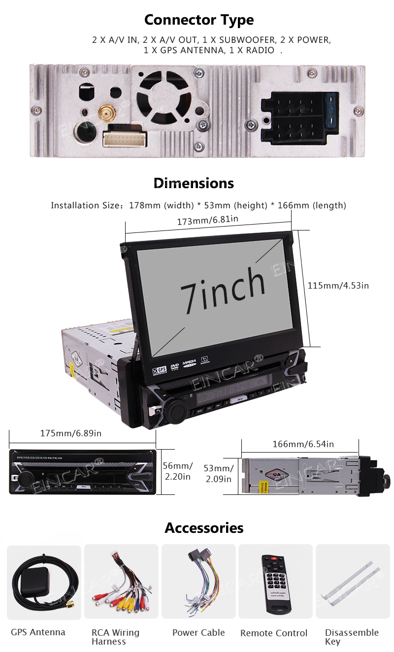 Flash Deal Capacitive Touch Screen Wince System Single 1 Din Car Stereo DVD Player Support GPS Navigation/USB/SD/Cam-in/Bluetooth/Steering 5