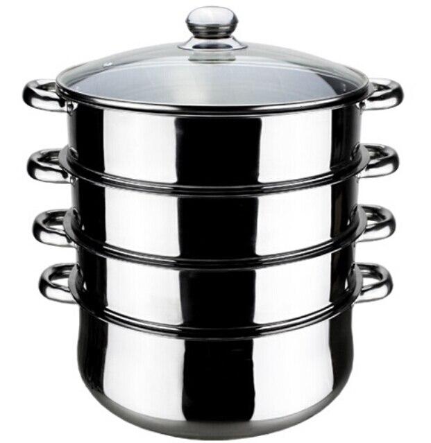 Бесплатная доставка 30 см 4 Пароварка горшок INOX MULTI-FUNCTION пособия по кулинарии горшок двойной котлы форма для запекания паром лоток