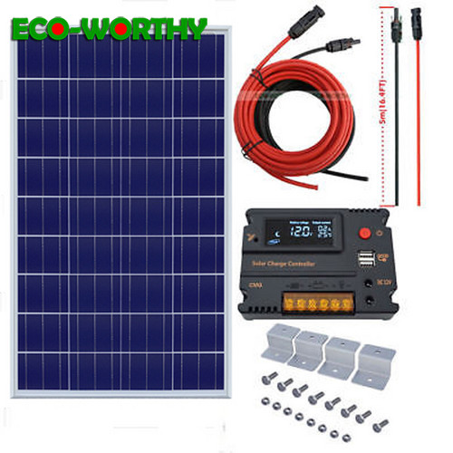 100W Polycrystalline 18V solar power panel with 10A solar charger controller for home 12V battery solar