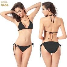 Lena Gaga Brazilian Bikini Swimwear Female Thong Bikini Bottom Tanga Halter Bikinis Top Sexy Biquini Bath Suit Micro Bikini Set
