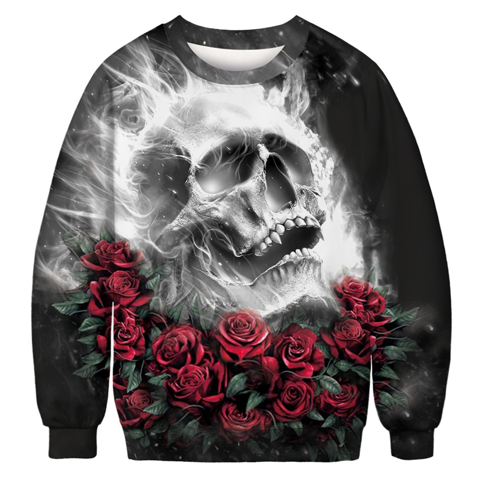318d23a44afe ... Sweatshirts Women 3D Hoodies Weed Rose Terrorist Zombies Skull Unicorn  Rip Cat Rock Loose Pullover Tops-in Hoodies   Sweatshirts from Women s  Clothing ...