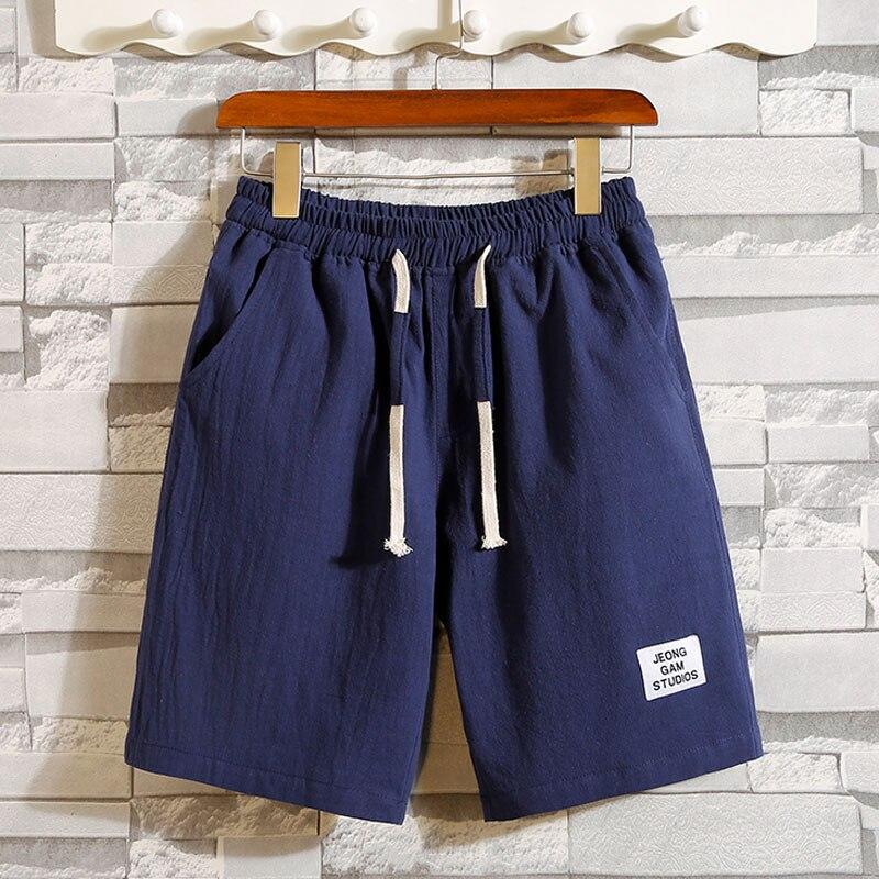 Men Shorts Thin 2020 New Summer Korean Style Male Casual Shorts Drawstring Knee-length Red Blue Khaki Gray Black Teenage Boy S02