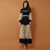 2019 new black round neck lantern sleeves pockets hip heavy work bead perspective Middle Eastern Sexy dress