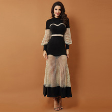 High quality 2019 new luxury celebrity party dress women's black long-sleeved lace openwork mesh long dress high quality openwork lace black spandex corsets garters for women