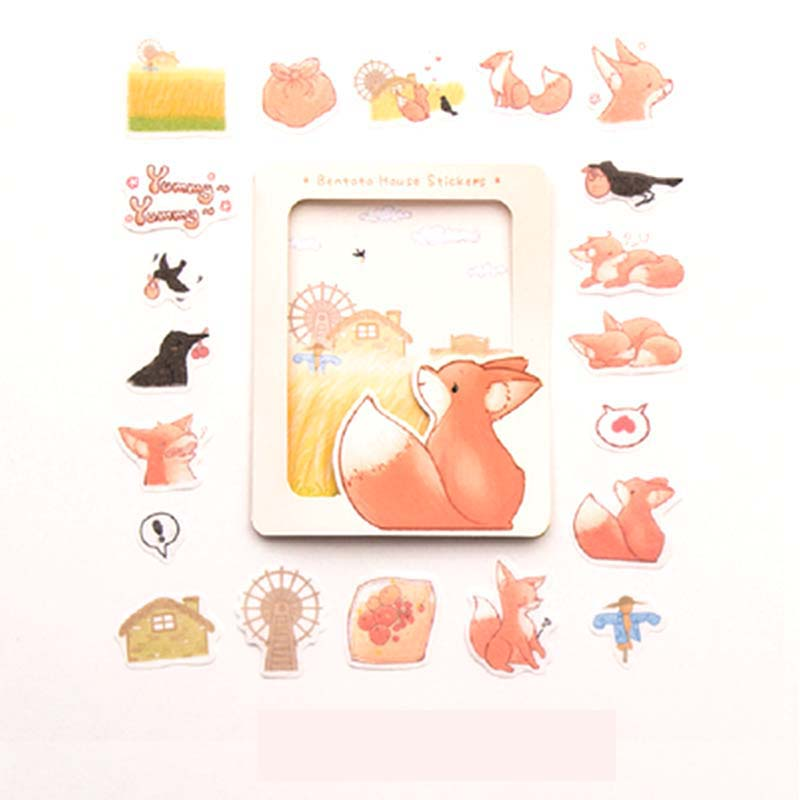 Cute  Fox Decoration Stationery Stickers Animal Scrapbooking DIY Diary Album Sticker Seals Label School Supplies