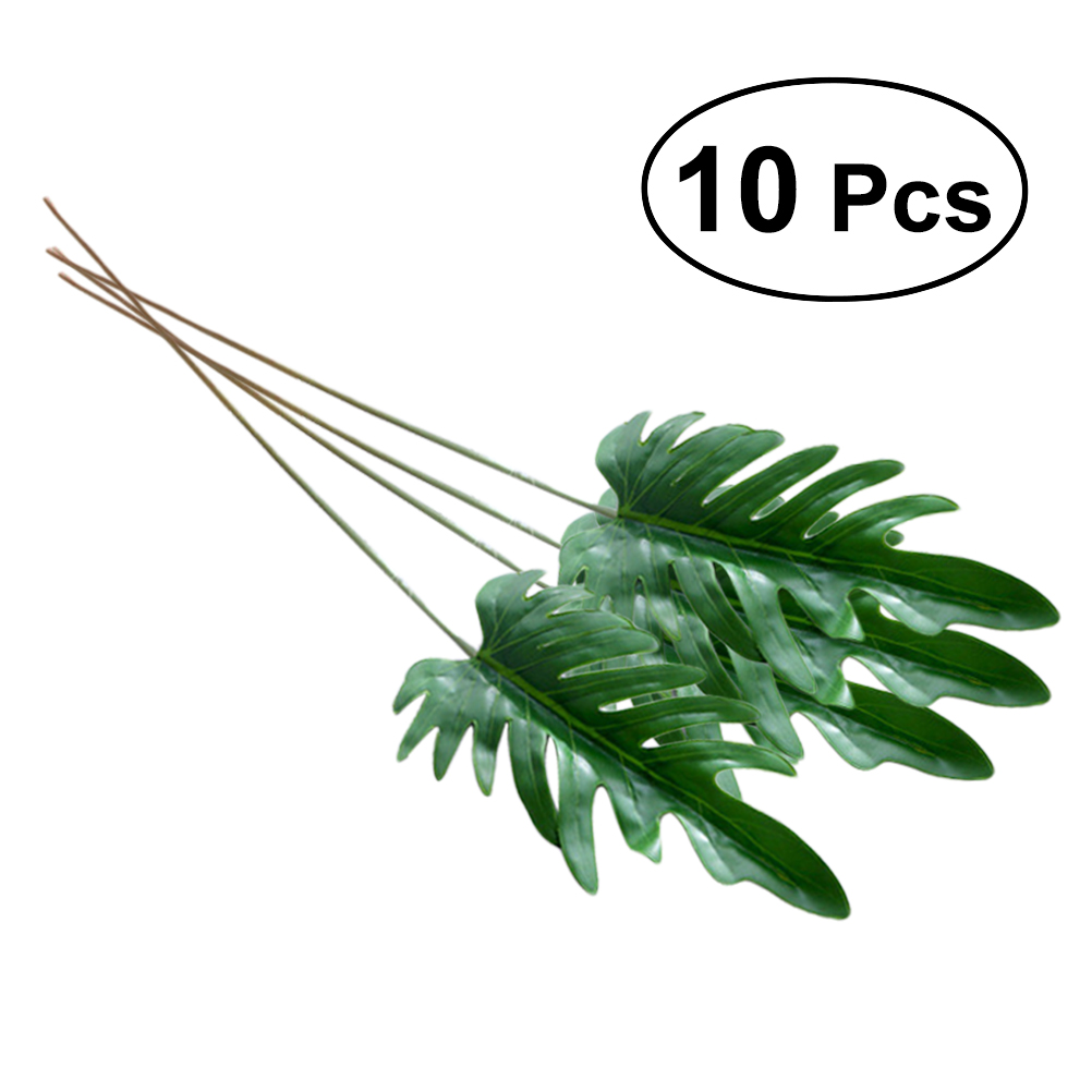 10pcs artificial lifelike split leaf philodendron faux leaves for