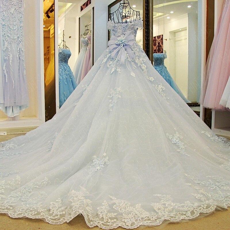 2019 printemps été romantique de luxe fleurs arc dentelle appliques paillettes tulle tiffany bleu robe de mariée xj98850 blanc long train - 2