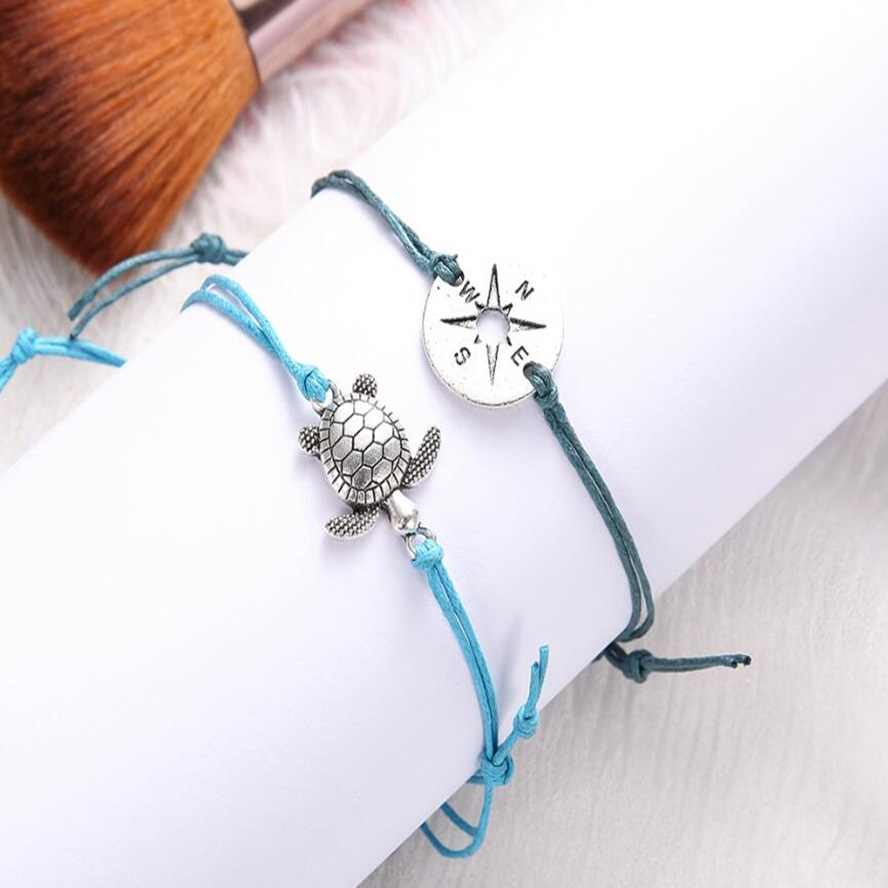 2PCS/Set 2018 NEW Turtle Compass Crown Letter Charm Beads Bracelet for Women Stretch Rope Bracelets Party Pulseras Mujer Jewelry