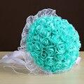 Buquê de casamento Transporte Rápido Feitos À Mão Broche de Flor Artificial com Pérola do Diamante Frisado Azul de Cetim Branco de Noiva