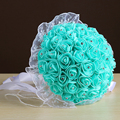 Wedding Bouquet Fast Shipping Handmade Brooch Artificial Flower with Diamond Pearl Beaded Blue White Satin  Bridal