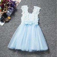 Vintage Blue Baby dziewczyny Ubierają, Koronki tulle Dziewczyny Party Dress, Wzór koronki Dziewczynek letnia sukienka, maluch Outfit