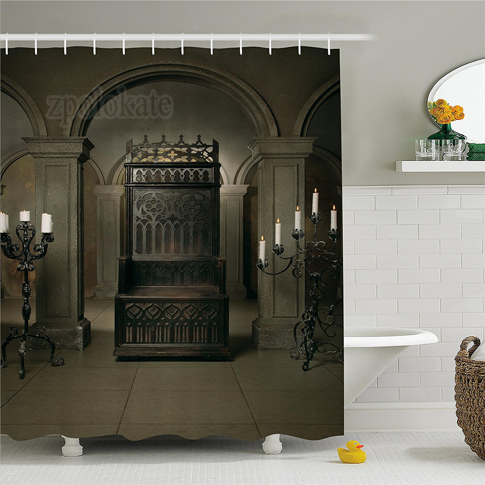Gothic Decor Shower Curtain Set Royal Throne In Medieval