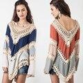 Mulheres Crochê Oceanside Cape Camisa Em Contraste Tarja 2016 Nova Verão Vestuário de Moda