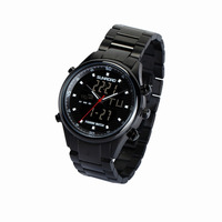 SUNROAD FR710A 5ATM Digital Altimeter Watch Men's Quartz Watch With Steel Strap High Quality Black Color For Fishing Fan