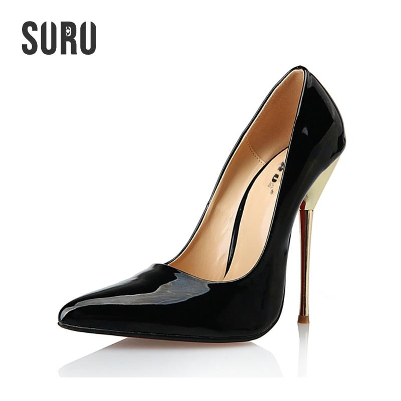 SURU Sexy Pointed Toe Pumps Thin Metal Stilettos Plus Size 43 44 45 46 47 48 49 50 , Big USA Size 8.5-15 A7 цены онлайн