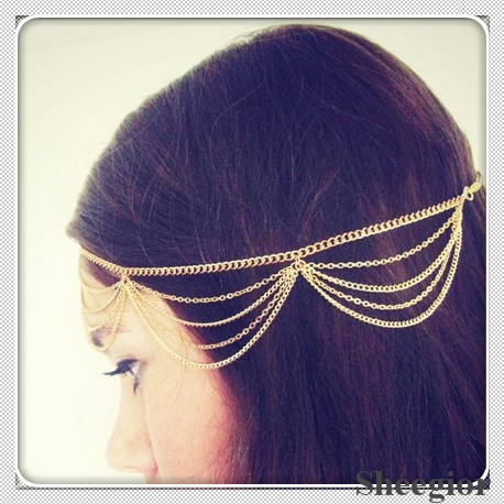 New 2014 Fashion Designer Hair Accessories Gold Silver Head chain Girls headband Bohemian Pieces Chains Jewelry Free shipping !