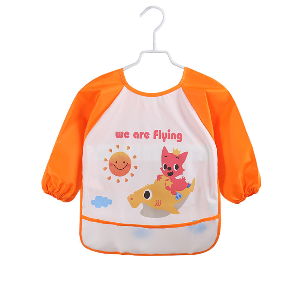 Image 3 - Lovely Baby Bibs Infant Long Sleeve Waterproof Baby Feeding Smock Apron Children Plastic Coverall Bib Toddler Newborn Bib Apron-in Bibs & Burp Cloths from Mother & Kids