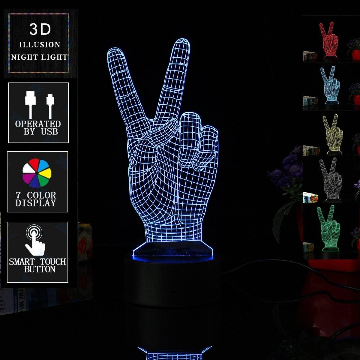 נצחון יד בצורת צבעוני LED לילה אור מתג חיישן מגע 3D USB כוח סוללה מנורת שולחן שולחן בית בר קפה דקור