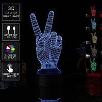 Coloré Victoire Main En Forme de LED Capteur Tactile Commutateur Nuit Lumière 3D USB Batterie Puissance Lampe De Table De Bureau Café Bar Accueil décor