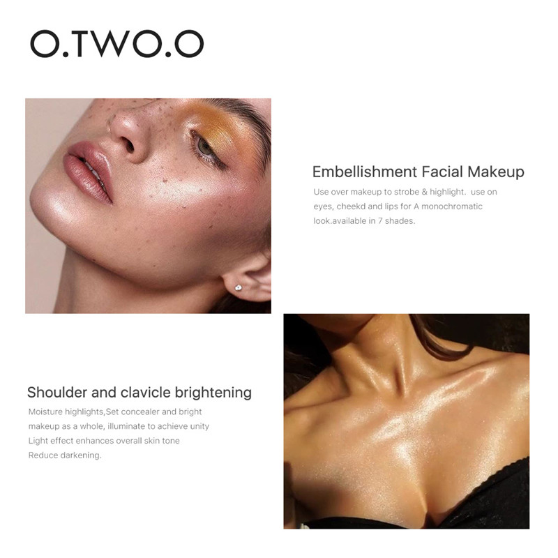O TWO O 7 Color Profession Waterproof Liquid Highlighter Face Contour Shimmer Long lasting Brighten Glow Highlighter Makeup in Bronzers Highlighters from Beauty Health