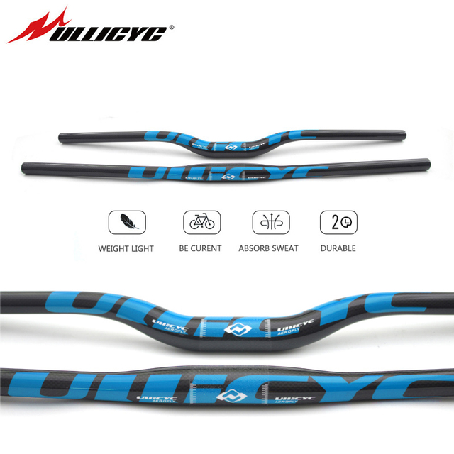 Ullicyc Mountain Bike 3K Full Carbon Handlebar Flat/Rise Carbon Bicycle Handlebar MTB Parts 31.8*580mm 740mm Blue Color  CB186