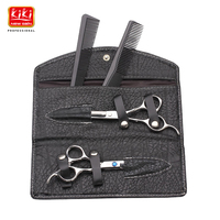 KIKI.Hair scissors.6.0 inch.Professional barber scissors with leather bag.HRC68.4CR stainless steel.Right-handed.Styling Tools