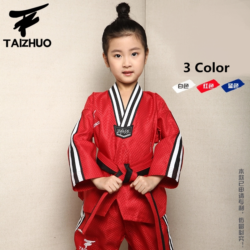 Brand quality Taekwondo dobok uniform TKD cotten&bamboo fiber Uniform WTF children Kids Taekwondo Long sleeve clothes 110-150cm
