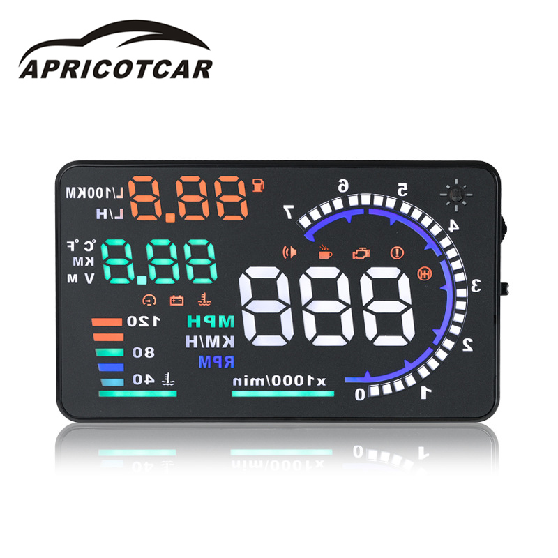5.5 Inch Screen Car HUD A8 Head Up Display with OBD2 LCD Digital Windshield Projector Speed Water Temperature Alarm Car Display rastp m9 hud 5 5 inch head up windscreen projector obd2 euobd car driving data display speed rpm fuel consumption rs hud011
