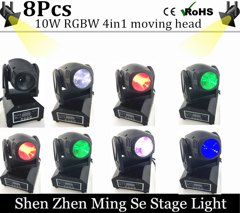8units 10W RGBW 4in1 moving head DMX512 light beam LED spot Lighting Show Disco DJ Laser Light 192 controller 10w mini led beam moving head light led spot beam dj disco lighting christmas party light rgbw dmx stage light effect chandelier