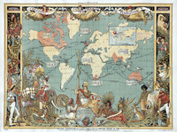 1886 Great Britain Made World Map Home Decorative Wall Hanging Frameless Paintings Study Room Classroom Decor