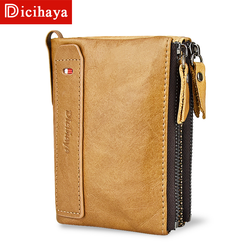 DICIHAYA Hot!! Genuine Leather Men Wallets Credit Business Card Holders Double Zipper Cowhide Wallet Soft Purse Carteira