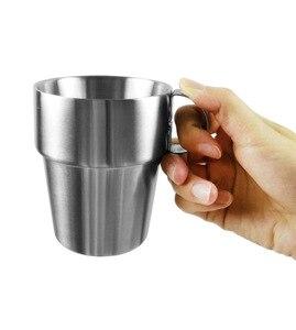 Image 5 - BPA ฟรี 300ML Double Wall สแตนเลสสตีลแก้วกาแฟท่องเที่ยวกีฬากลางแจ้งแบบพกพาแม่เหล็กน้ำถ้วยเบียร์ 4 ชิ้นชุด