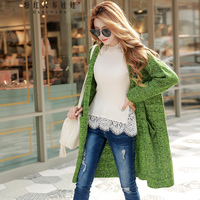 Original 2017 Brand Autumn Winter Sweater Coat Female Pocket Fashion Casual Loose Long Green Knitted Cardigan